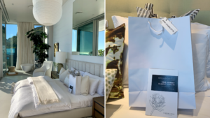 Welcome gift bags in villa