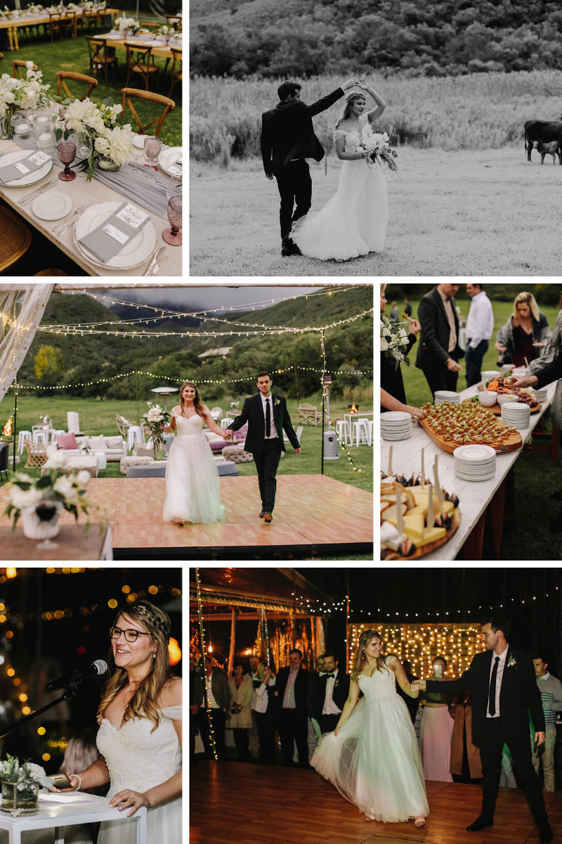 Outdoor wedding reception in marquee