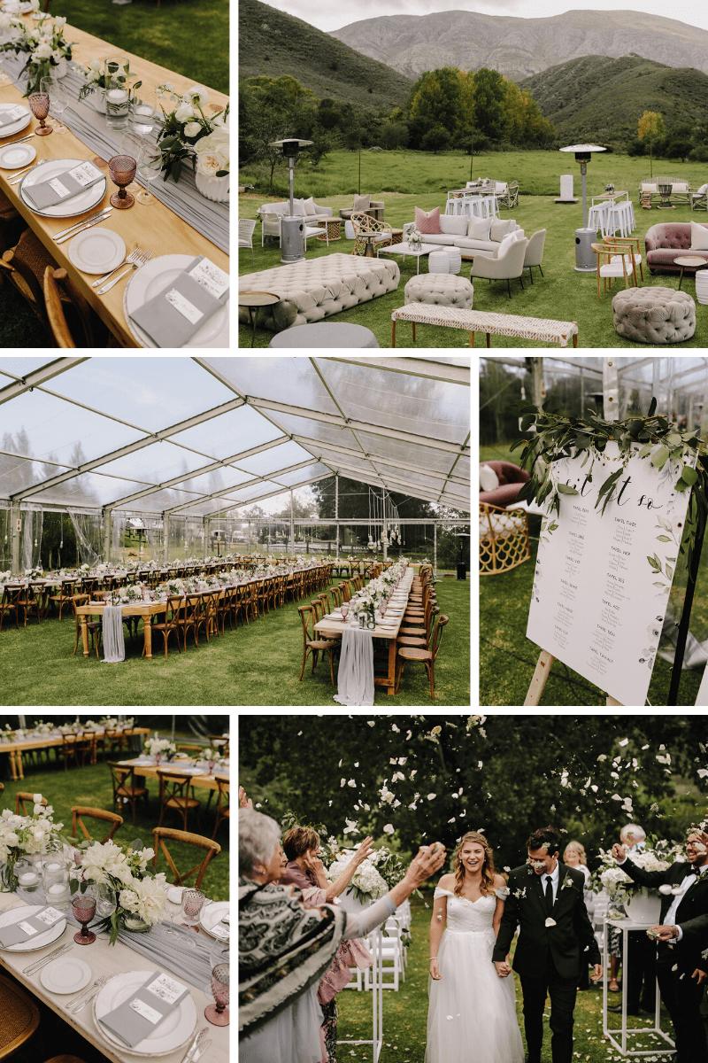 Outdoor marquee wedding reception