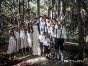 Bridal retinue after ceremony in the forest