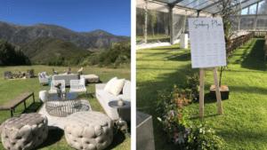 Outdoor pre-reception lounging