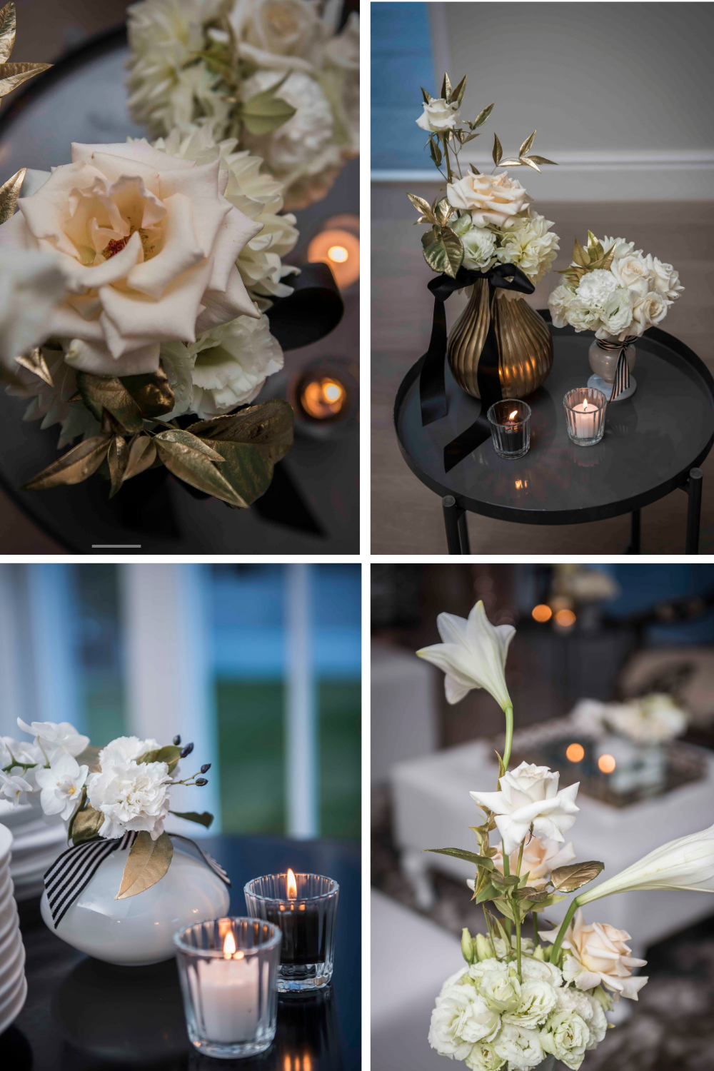 Beautiful white lilies and roses in gold vases