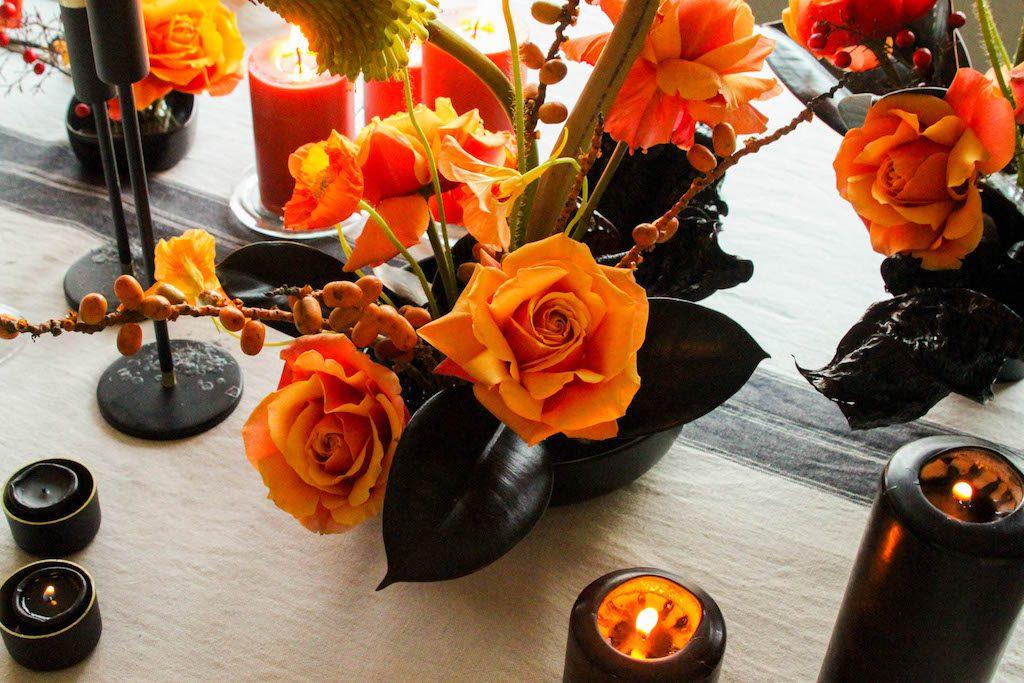 Intimate fire themed birthday dinner decor