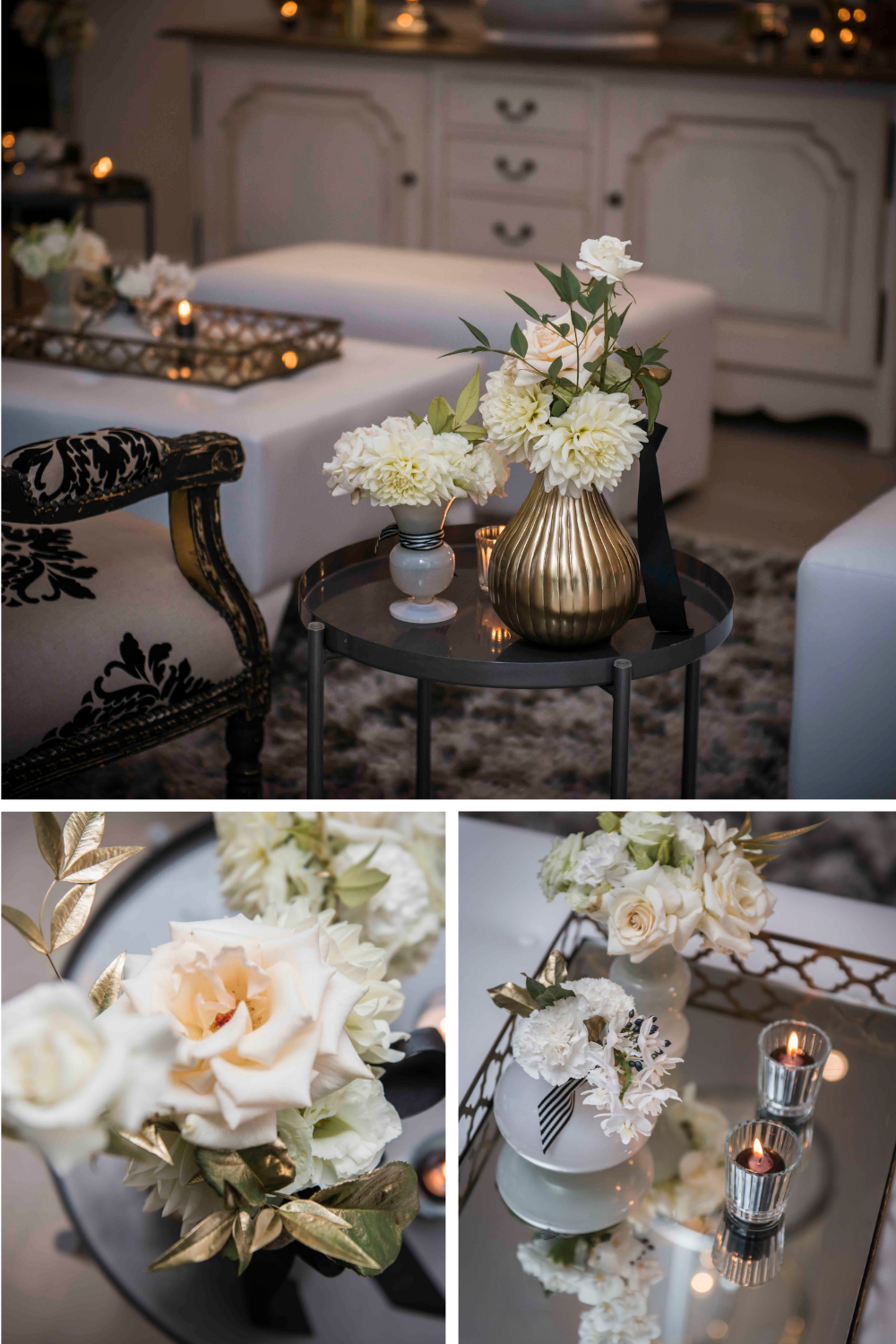 Vintage white and black furniture with gold vases and white flowers