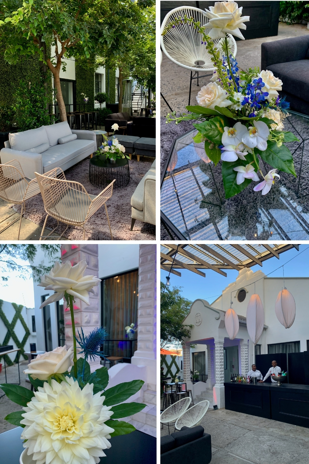 Barmitzvah decor and flowers in outdoor area