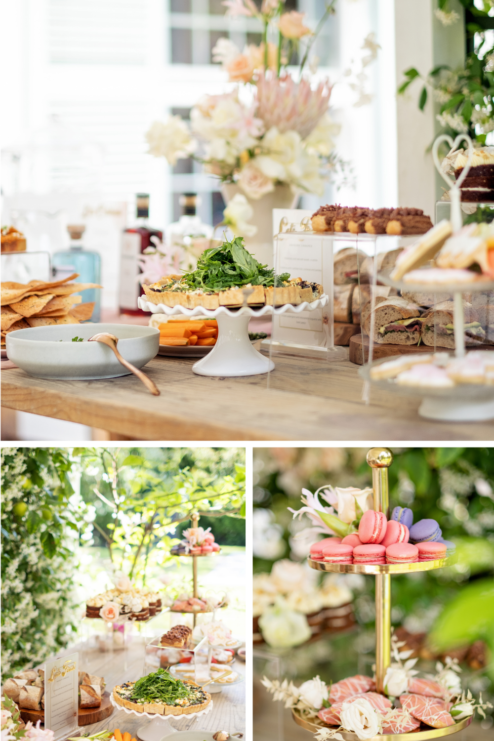 Outdoor table set up with cakes and sweet treats