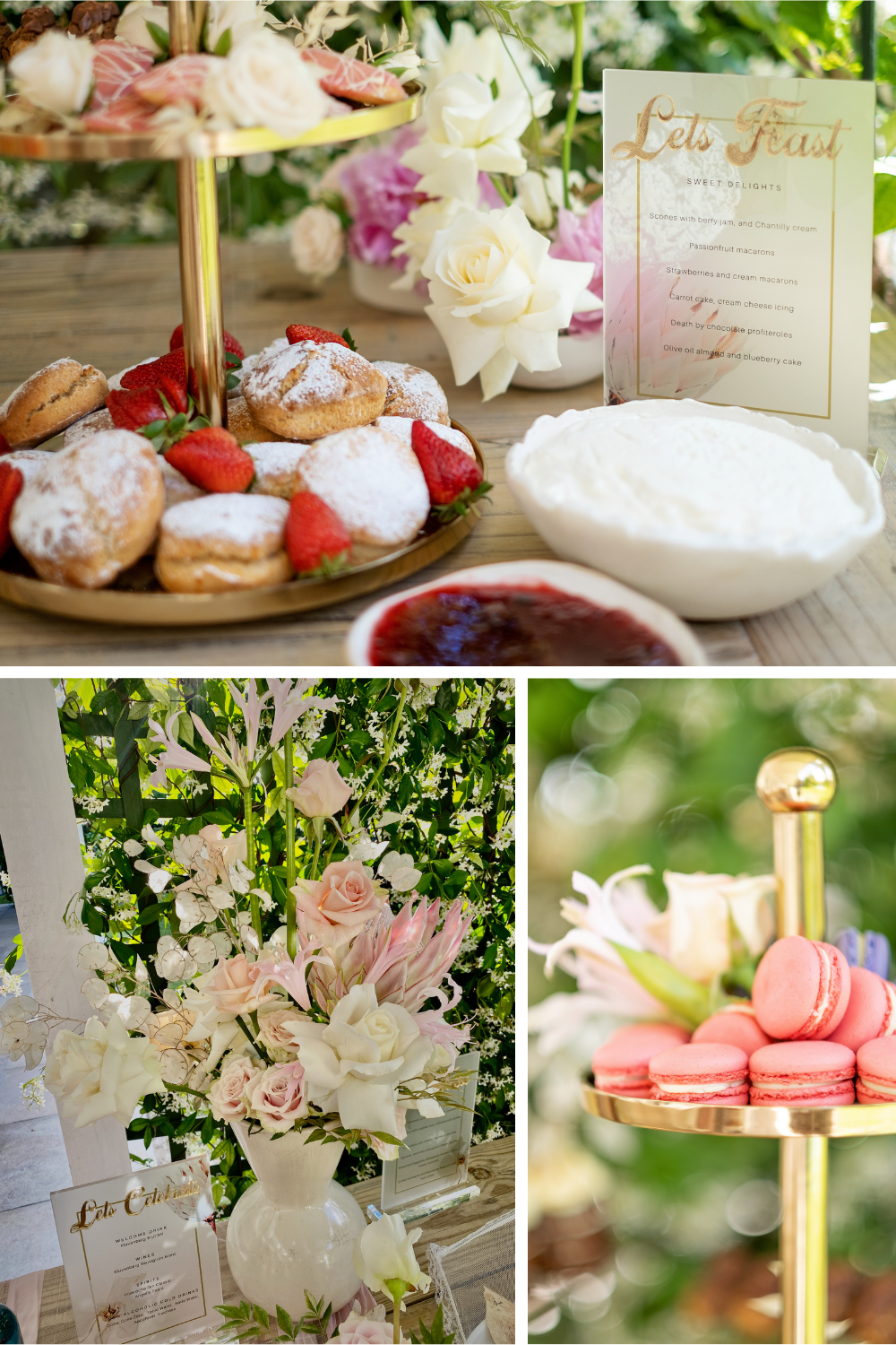 Outdoor table set with macarons and scones