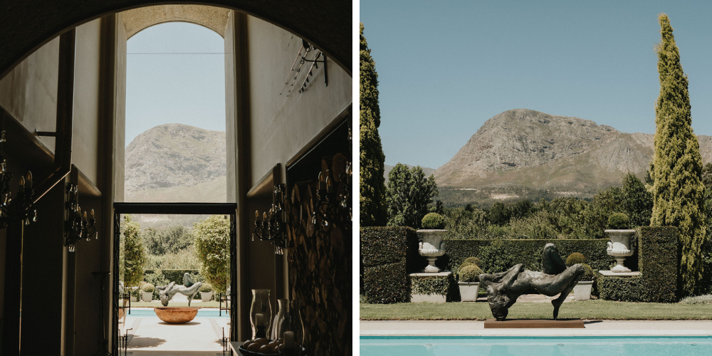 Exterior of the majestic Sandstone House in Franschhoek