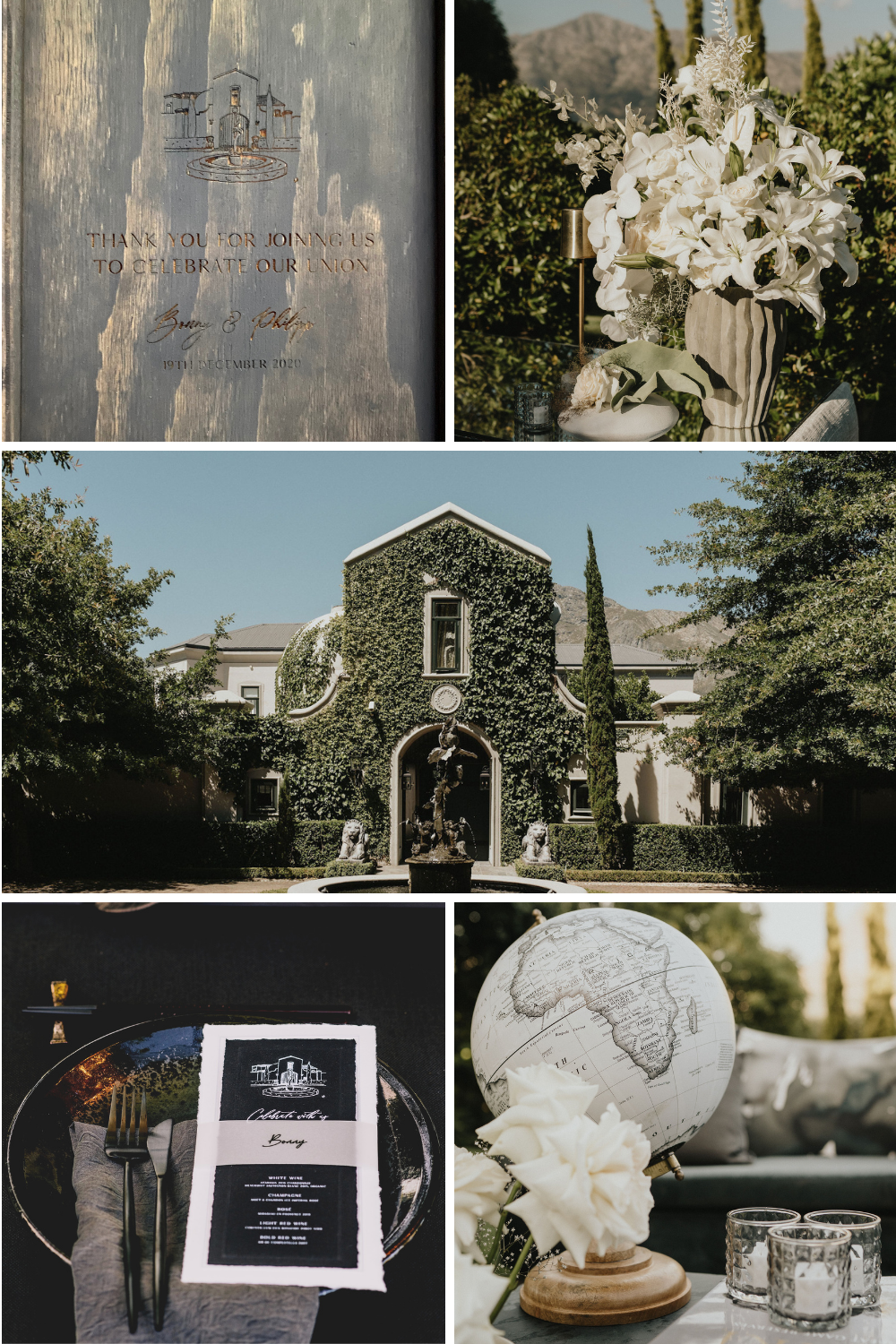 A printed menu, white flowers, exterior of house and wine gift box