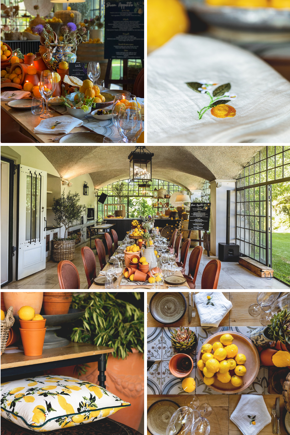 Dining table set in Tuscan theme with lemons and artichokes