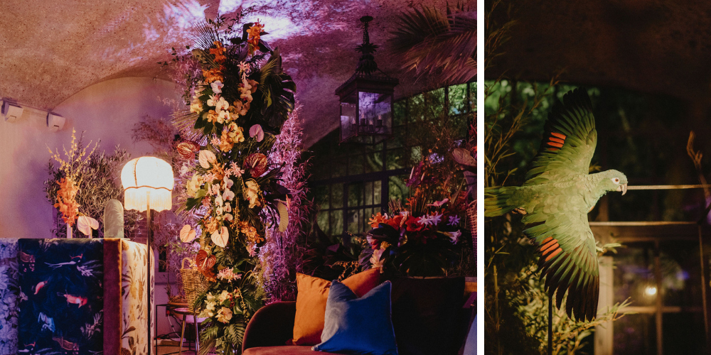 Room decorated as a Jungle with large florals