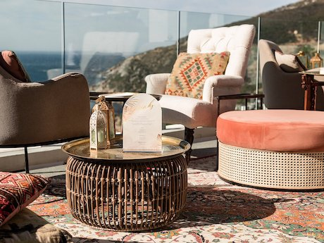 Moroccan furniture on balcony