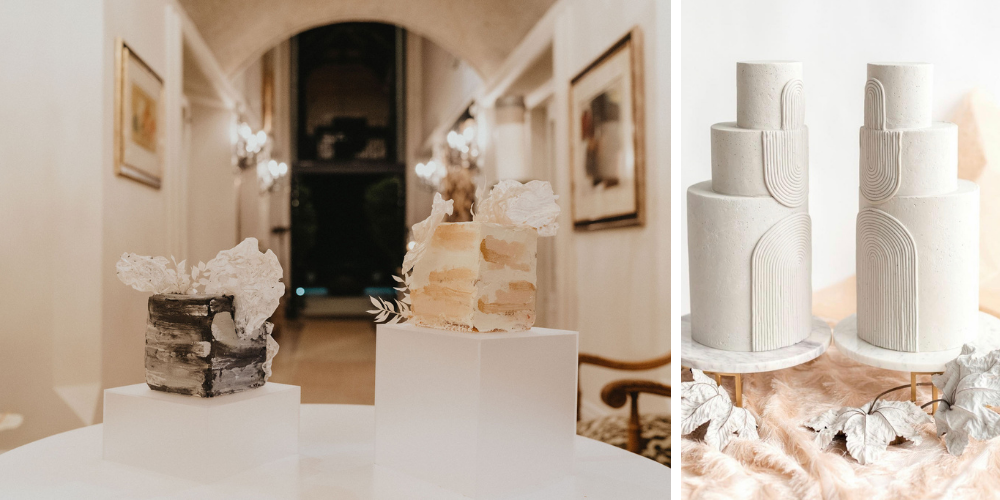 Two wedding cakes for bride and groom